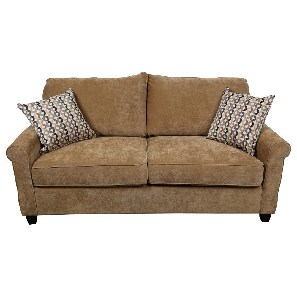 Serena Khaki Plush Microfiber Queen Sleeper Sofa