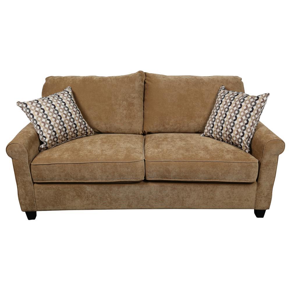 Serena Khaki Plush Microfiber Queen Sleeper Sofa