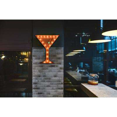 Indoor and Outdoor Rusted Steel Martini Glass Plug-in Marquee Light Lighted Sign