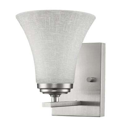 Union 1-Light Satin Nickel Sconce with Frosted Glass Shade