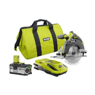 18-Volt ONE+ Lithium-Ion 6-1/2 in. Cordless Circular Saw Kit with 4.0Ah Battery, Rapid Charger and Bag