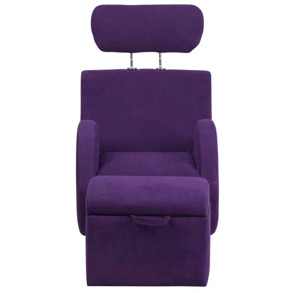 FLASH Hercules Series Purple Fabric Rocking Chair with St...