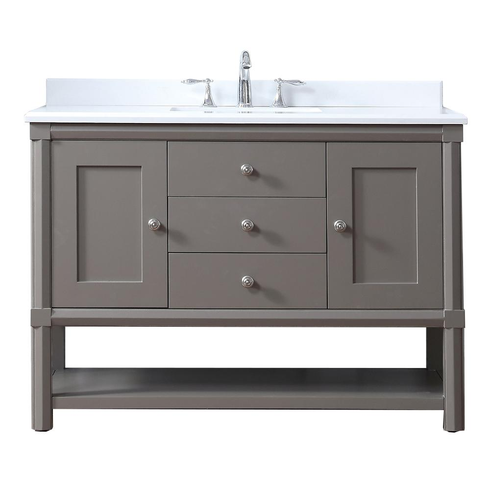 Martha Stewart Living Sutton 48 in. W x 22 in D Vanity in Brook Trout with Marble Vanity Top in Yves White with White Basin