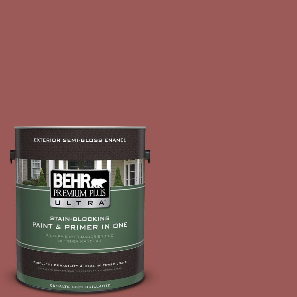 BEHR Premium Plus Ultra 1-gal. #PMD-86 Arabian Red Semi-Gloss Enamel Exterior Paint