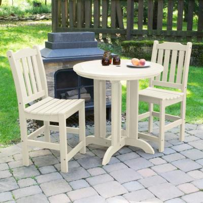 Lehigh Whitewash 3-Piece Recycled Plastic Round Outdoor Balcony Height Dining Set