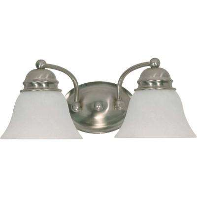 2-Light Brushed Nickel Incandescent Wall Vanity Light