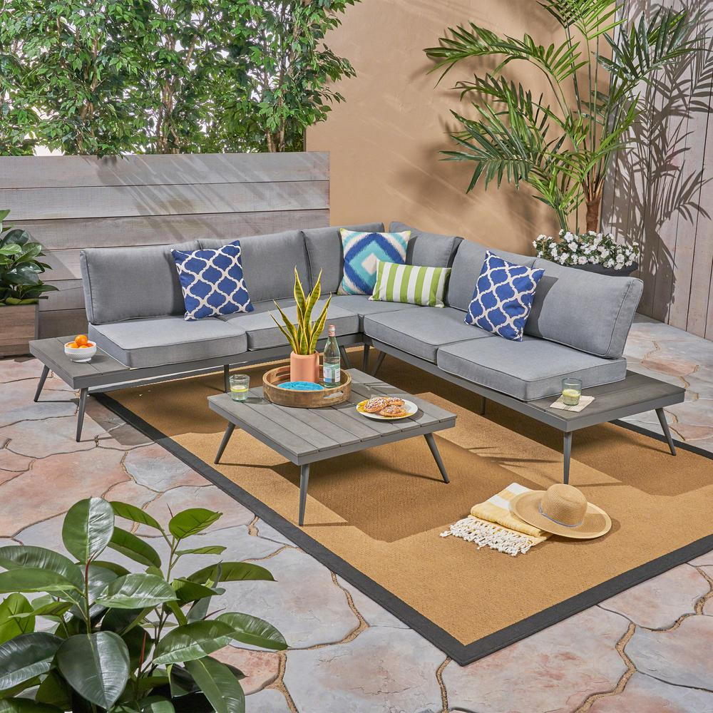 Noble House Norfolk Gray 9-Piece Wood and Aluminum Patio Sectional Seating  Set with Gray Cushions-92789 - The Home Depot