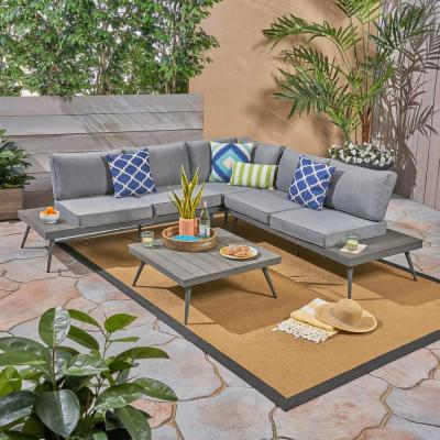 Norfolk Gray 4-Piece Wood and Aluminum Patio Sectional Seating Set with Gray Cushions