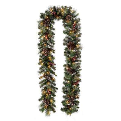 9 ft. L Pre-Lit Glittered Pine Cone Christmas Garland with Warm White LED Light