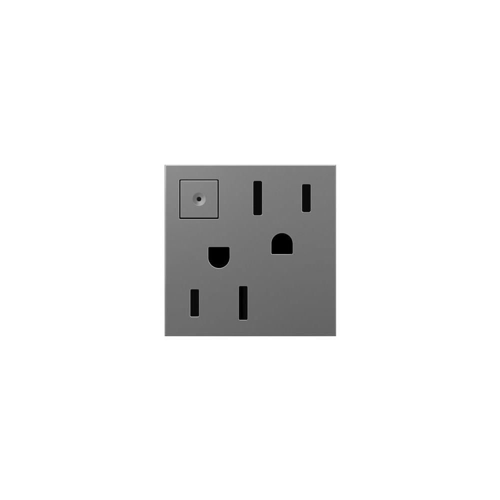 Legrand adorne 15 Amp Manual On-Off Duplex Outlet, Magnesium