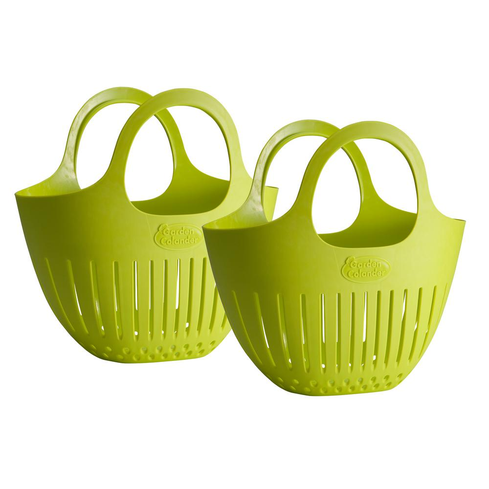 Green Mini Garden Colander Harvest Basket 2 Pack Carry Plastic Fruit Baskets