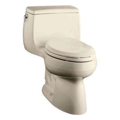 Gabrielle Comfort Height 1-piece 1.28 GPF Single Flush Elongated Toilet with AquaPiston Flushing Technology in Almond