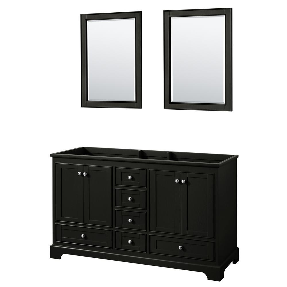 Deborah 59.25 in. Double Bathroom Vanity Cabinet Only with 24 in. Mirrors in Dark Espresso