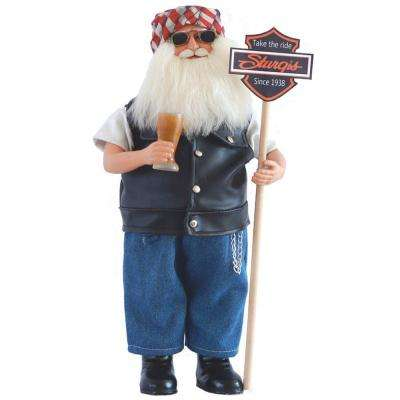 15 in. Sturgis Santa with Sign