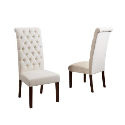 George Natural Fabric Tall-Back Tufted Dining Chair (Set of 2)