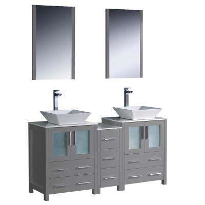 Torino 60 in. Double Vanity in Gray with Glass Stone Vanity Tops in White with White Vessel Sink Middle Cabinet, Mirrors