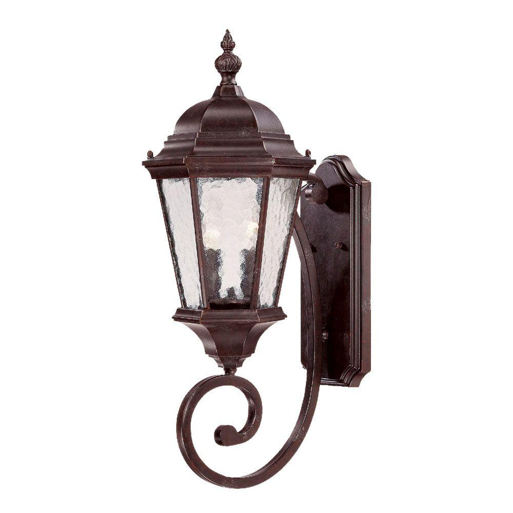 Telfair Collection Wall-Mount 2-Light Marbleized Mahogany Outdoor Light Fixture