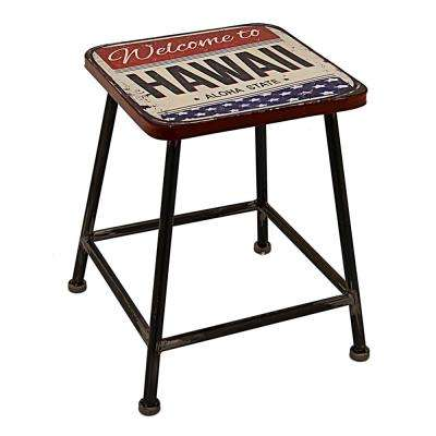 15 in. x 15 in. Multi-Colored Metal Accent Table