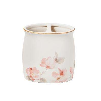 Misty Floral Free Standing Toothbrush Holder in Pink