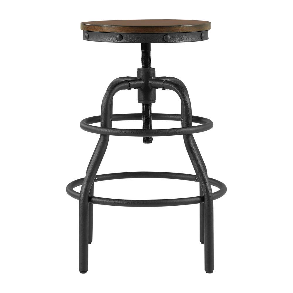 Home Decorators Collection Industrial Mansard Adjustable Height Black Bar Stool 0559400210 The Home Depot