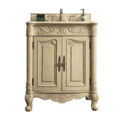 St. James 30 in. W Single Vanity in Parchment with Marble Vanity Top in Galala Beige with White Basin
