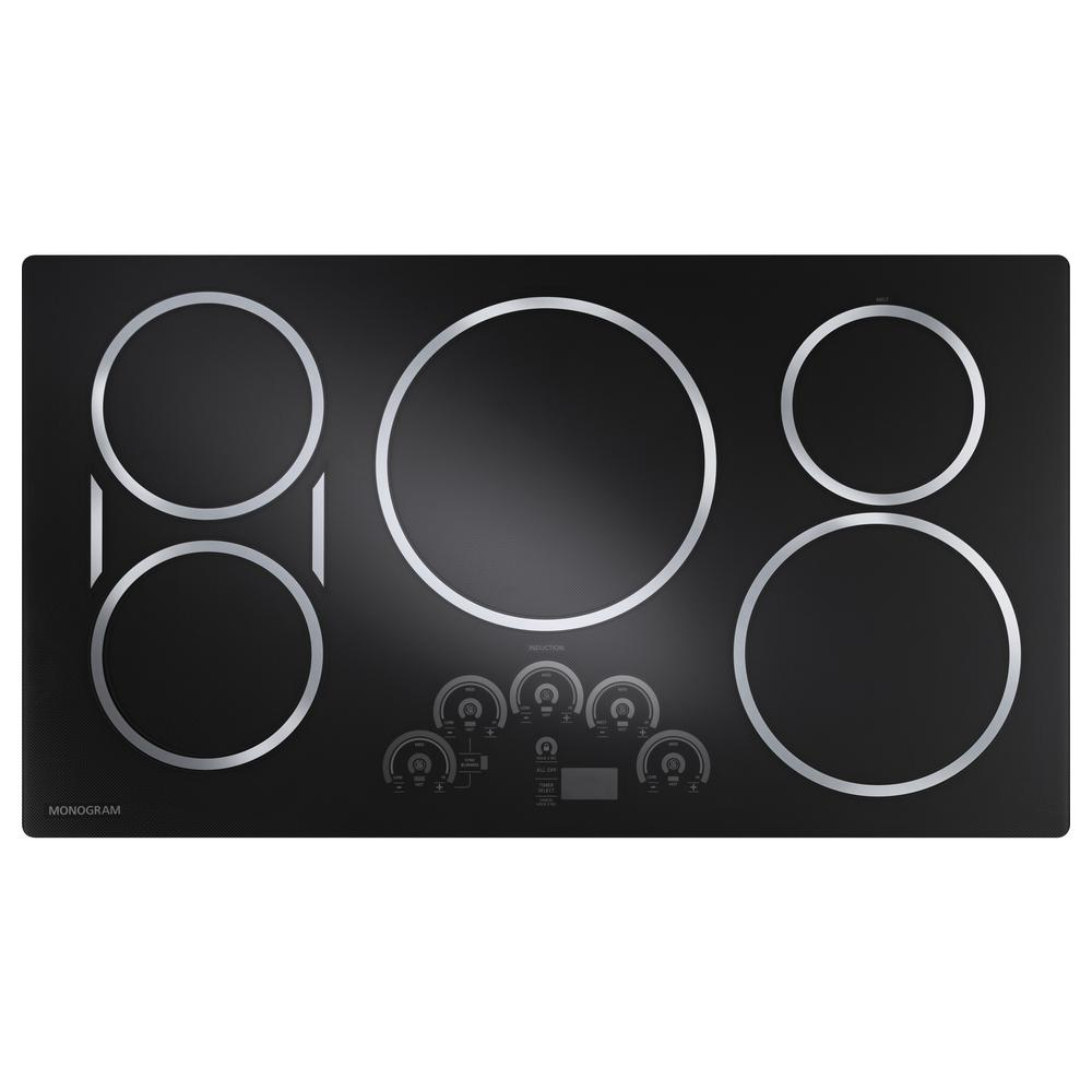 Monogram 36 In Gl Ceramic Induction Cooktop Silver With 5 Elements Including Syncburners