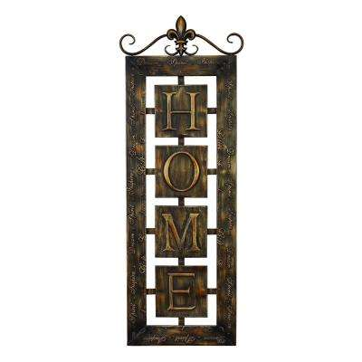 39 in. x 15 in. Bronze New Traditional Iron Tile Home Wall Plaque