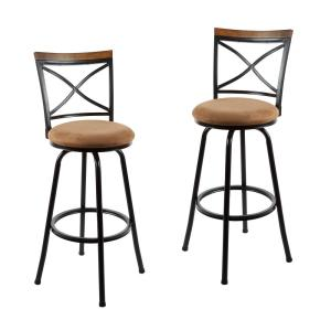 Astounding Frankie 36 In Light Brown Cushioned Adjustable Height Swivel Bar Stool Set Of 2 Machost Co Dining Chair Design Ideas Machostcouk