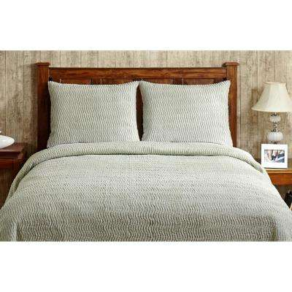 Natick Chenille 1-Piece Sage Full Bedspread