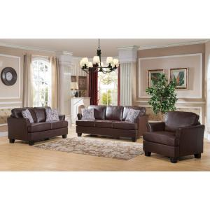 Signature Home Gracie Brown Faux Leather Hide-A-Bed Sofa Sleeper ...