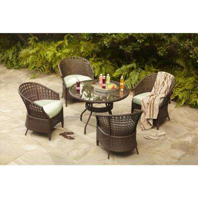 Haver Hill IV 5-Piece Patio Dining Set with Green Cushions