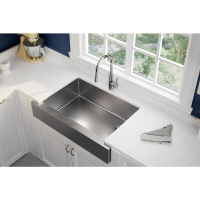 Crosstown Farmhouse/Apron-Front Stainless Steel 31 in. Single Bowl Kitchen Sink