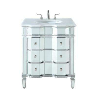 Timeless Home 30 in. W x 22 in. D x 36 in. H Single Bathroom Vanity in Silver with White Marble Top and White Basin