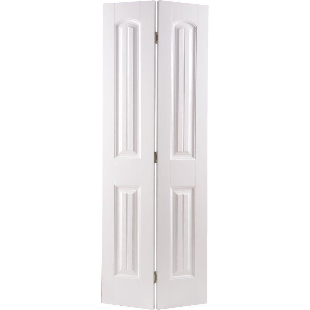 Masonite 24 in. x 80 in. Cheyenne 2-Panel Camber Top Primed White Hollow-Core Smooth Composite Bi-fold Door