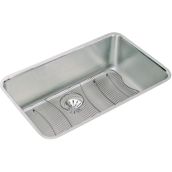 Lustertone Undermount Stainless Steel 31 in. Single Bowl Kitchen Sink Kit