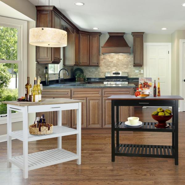 Casual Home White Kitchen Island With Solid Wood Top 373 91 The Home Depot