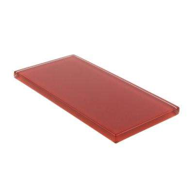 3 in. x 6 in. x 8mm Ruby Red Subway Glass Backsplash and Wall Tile Sample