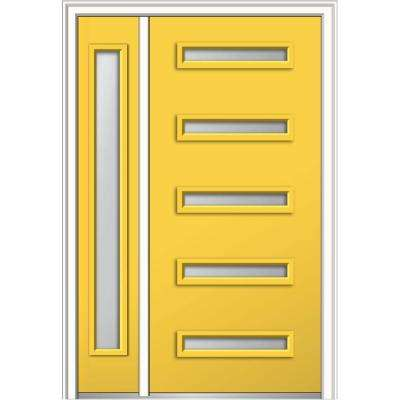 48 in. x 80 in. Davina Frosted Glass Right-Hand Inswing 5-Lite Modern Painted Steel Prehung Front Door with Sidelite