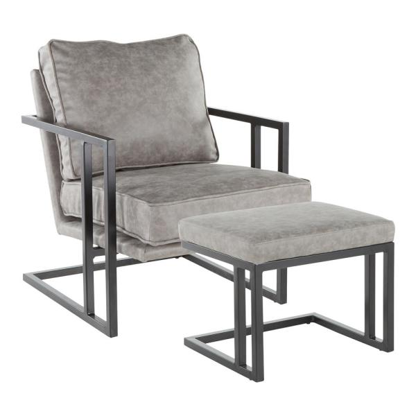 Grey Faux Leather and Black Metal Roman Industrial Lounge Chair with Ottoman