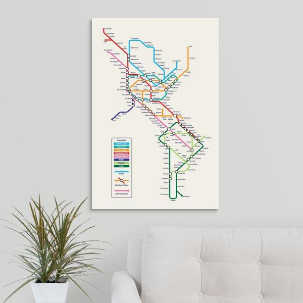 Subway Map Tapestry.Americas Metro Map By Michael Tompsett Canvas Wall Art