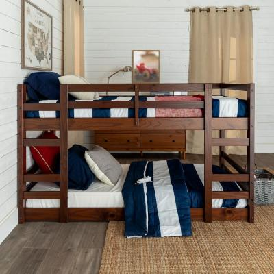 Transitional Solid Wood Twin Over Twin Low Bunk Bed - Walnut