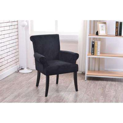 Ordinaire Calla Black Microfiber Arm Chair