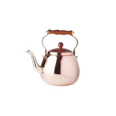 4 Qt. Tea Kettle with Wood Handle in Solid Copper