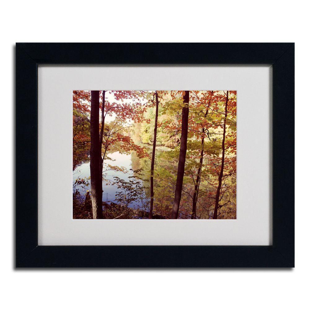 Trademark Fine Art 11 in. x 14 in. A Secret Pond Dark Wooden Framed Matted Art