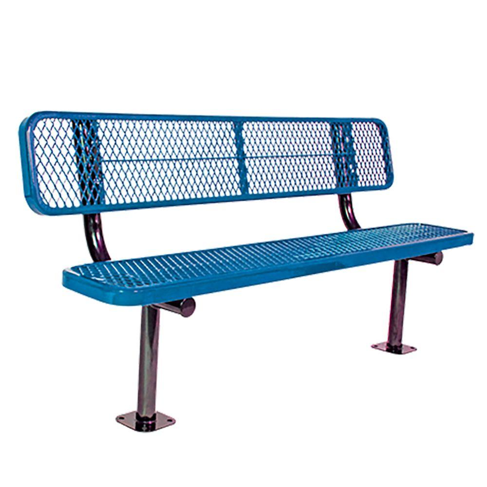 Surface Mount 6 ft. Blue Diamond Commercial Park Bench with Back