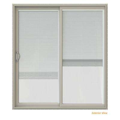 72 in. x 80 in. V-2500 Desert Sand Vinyl Left-Hand Full Lite Sliding Patio Door w/Desert Sand Interior & Blinds