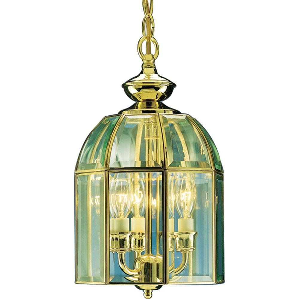 Volume Lighting 3-Light Polished Brass Pendant with Bound Glass