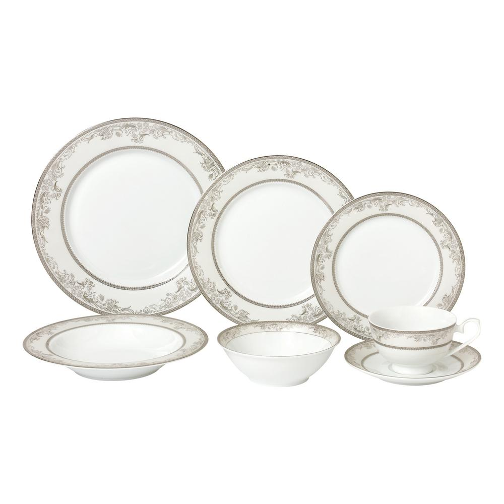 28-Piece Silver Dinnerware Set-New Bone China Service for 4-People-Juliette