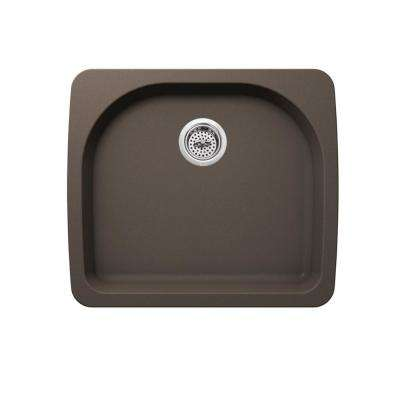 Dual Mount Quartz 25 in. 0-Hole Single Bowl Kitchen Sink in Mocha Brown