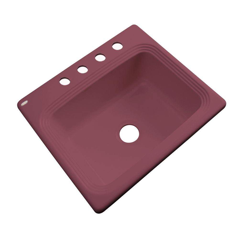 Thermocast Rochester Drop-In Acrylic 25 in. 4-Hole Single Bowl Kitchen Sink in Raspberry Puree